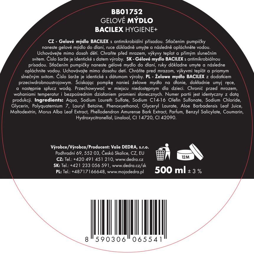 Gélové mydlo BACILEX Hygiene + s antimikrobiálnou prísadou, 500 ml