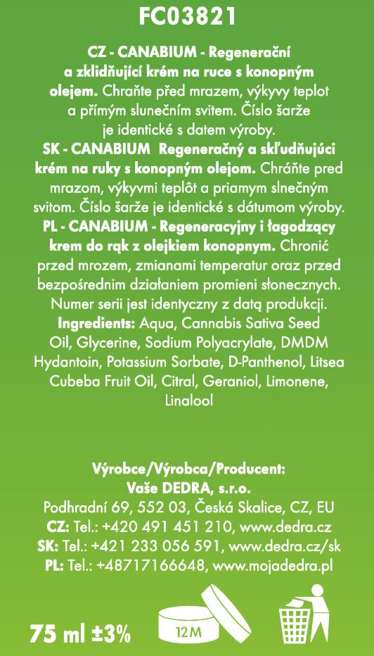 Krém na ruce CANNABIUM s 20% konopného oleje