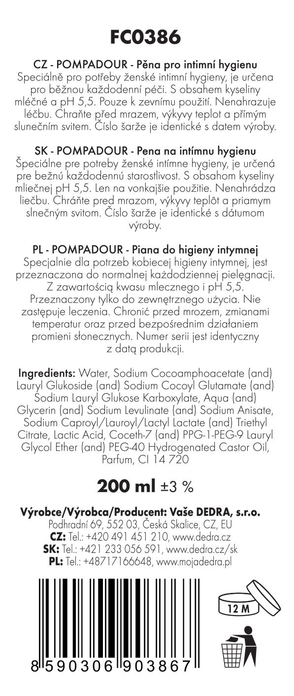 Mycí pěna pro intimní hygienu ženy s pH 5,5, POMPADOUR