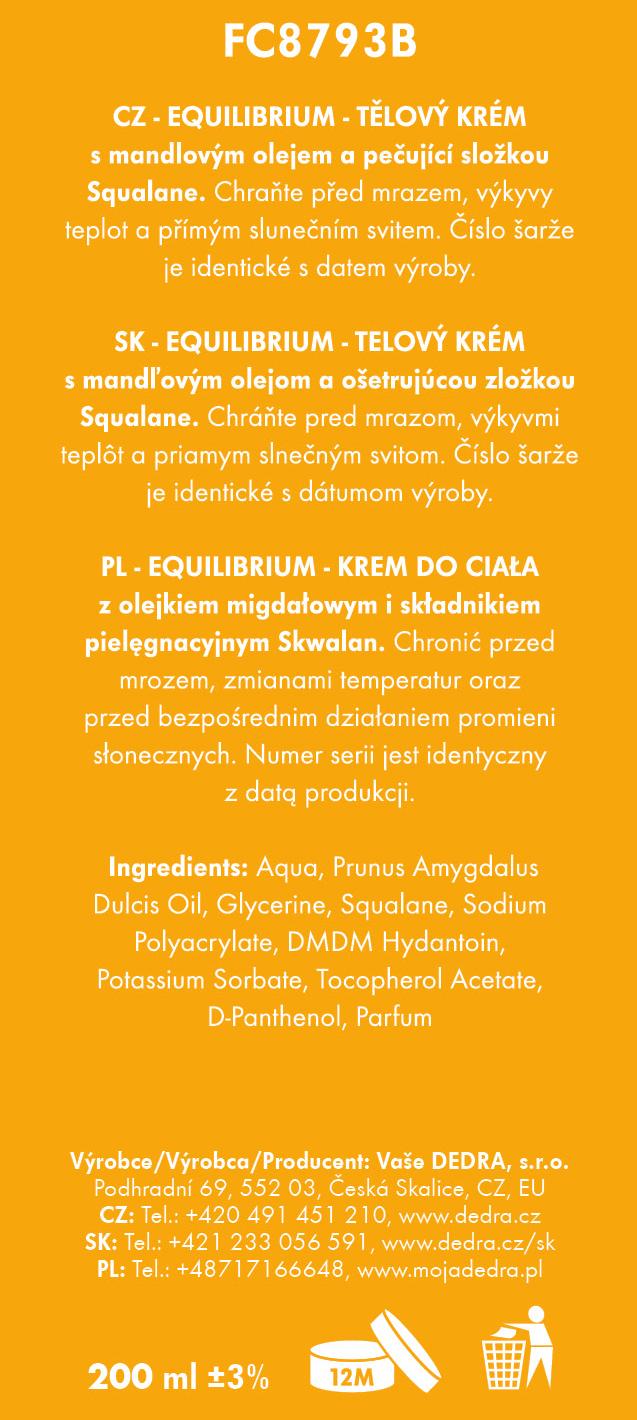 BODY CREAM telový krém s mandľovým olejom, equilibrium