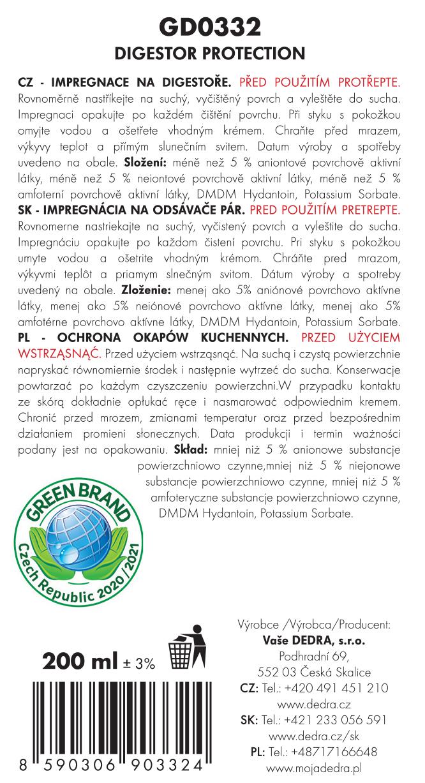 EKO ochrana digestoře s impregnační složkou ECO PROTECTION DIGESTOR SPRAY