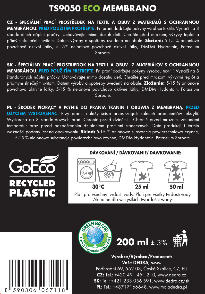 Speciální EKO prostředek na praní textilu a obuvi s ochrannou funkční membránou, ECO MEMBRANO