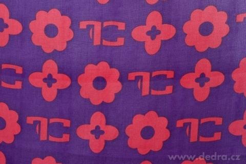 FC6011-Monogram šál/pareo  fialovo-fuchsiové s monogramem FC