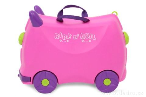 FC73051-Veselý auto-kufor pre deti fuchsiový cestovná batožina