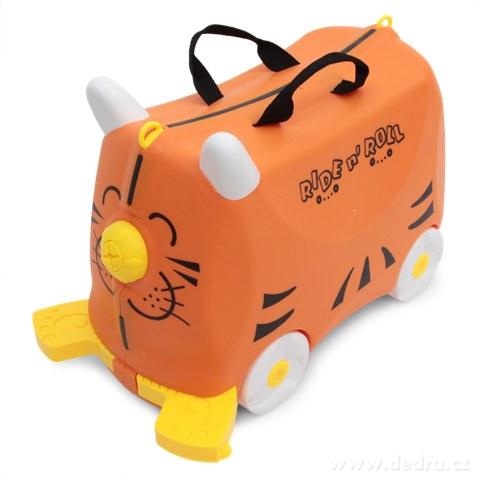 FC73052-Veselý auto-kufor pre deti oranžový cestovná batožina