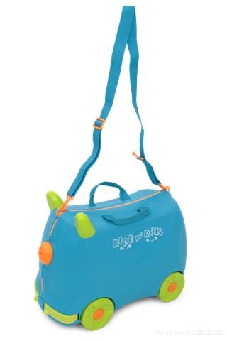 FC73053-Veselý auto-kufor pre deti modrý cestovná batožina