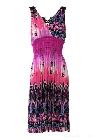 53196b4102d DAISY šaty s krajkovou vsadkou fialové s ornamentem - Vaše DEDRA ...