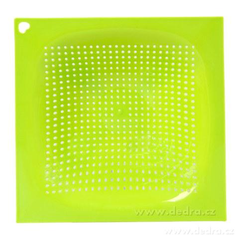 DA83672-Chytrej cedník z kvalitného plastu hranatý zelený