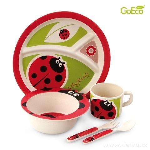 DA84312-5 dielna jedálenská súprava pre deti - ladybird GoEco Bamboo sada