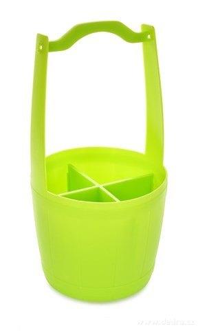DA84351-PŘÍBORNOŠ VEDRO stojan na príbory s rukoväťou, jasne zelený
