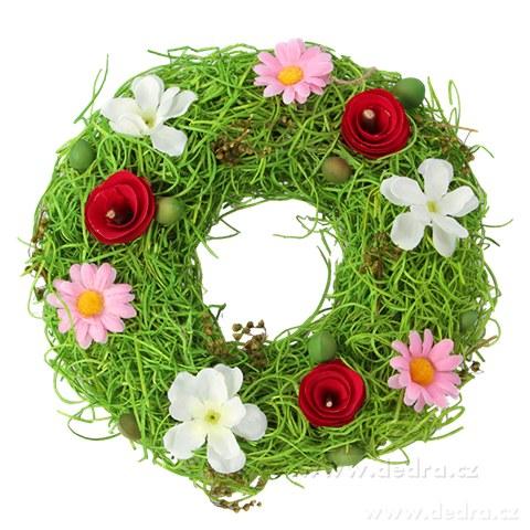DA84522-Kvetinový veniec dekoratívne prútia a farebné kvety 22 cm
