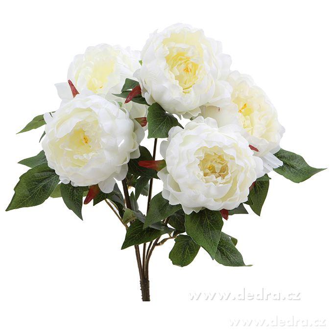 Bukiet Piwonii Białe 45 Cm Sztuczne Kwiaty Mojadedrapl