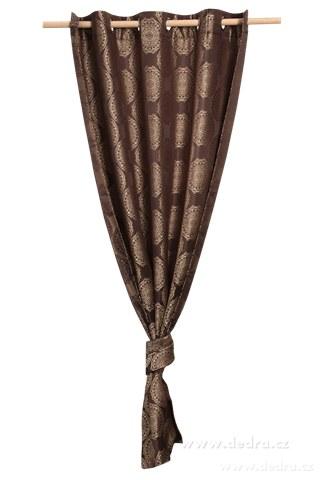 DA10253-Jacquard rings žakárové tkaný záves čokoládový