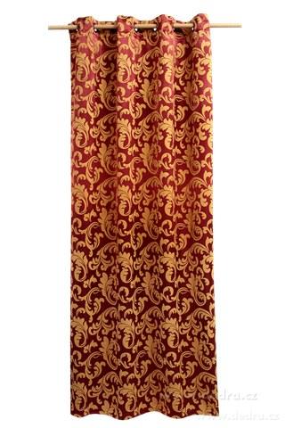 DA10302-Jacquard ornament žakárové tkaný záves bordó-zlatý