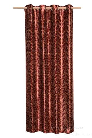 DA10304-Jacquard ornament žakárové tkaný záves bordó ornament
