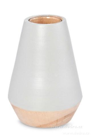 DA86834-Dekoratívna váza z dreva, vo vnútri sklo šedá