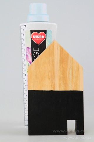 DA86842-Drevená dekorácia domček čierny väčšie 10 x 5 x 18 cm