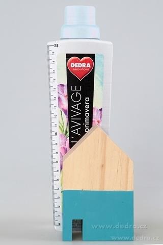 DA86851-Drevená dekorácia domček tyrkys.střední 9 x 5 x 15 cm