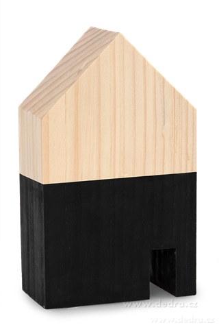 DA86852-Drevená dekorácia domček čierny strednej 9 x 5 x 15 cm