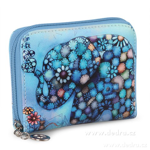 FC87712-Dámska peňaženka motív slona menšie modrá, z ekokože
