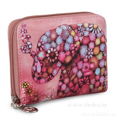 FC87713-Dámska peňaženka motív slona menšie ružová, z ekokože