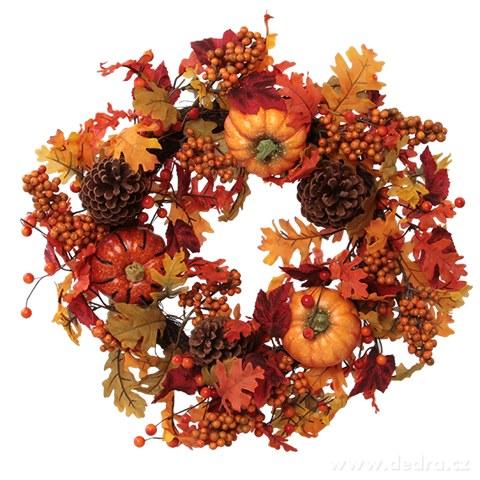 DA8896-50 cm veniec v hrejivých jesenných farbách