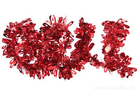 DA89094-Červený reťaz na vianočné dekorácie 2 metre