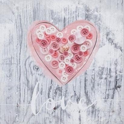 DA8859-3D obraz na plátne 28 x 28 cm gombíkové srdca