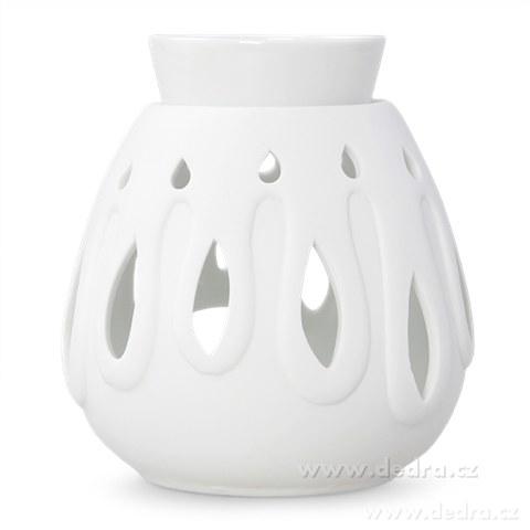 DA8961-XXL Keramická aromalampa na čajovú sviečku dekor kvapky biela
