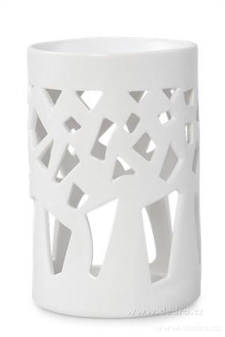 DA8962-Keramická aromalampa na čajovú sviečku geometr.dekor biela