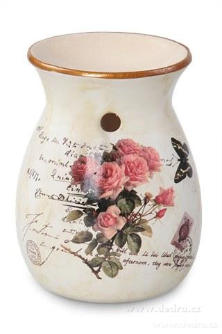 DA89661-Keramická aromalampa s dobovou patinou ruže