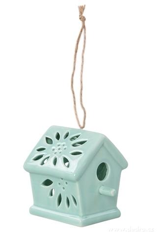 DA89684-Vtáčia búdka keramická, dekoratívne mintovou lesklá
