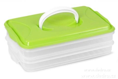 DA89841-Duonoš 2x 800 ml box na potraviny 2 poschodový zelený