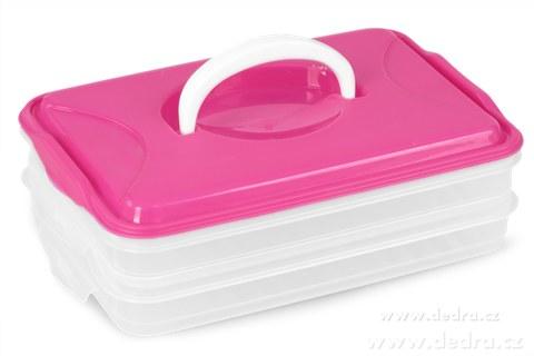 DA89842-Duonoš 2x 800 ml box na potraviny 2 poschodový ružový