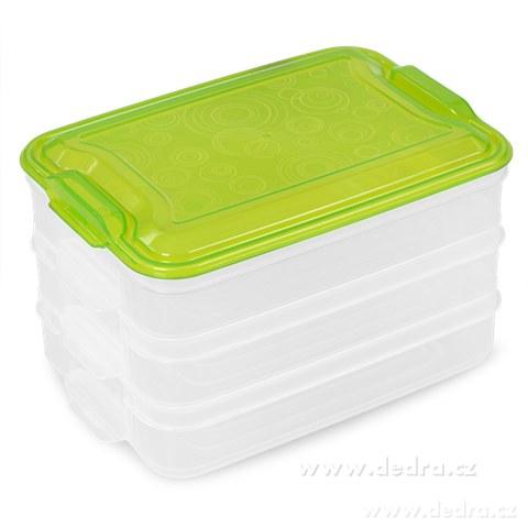 DA89871-Trojobal 3x 800 ml box na potraviny zelený