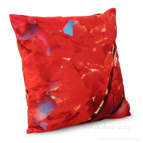 DA89892-Poťah na vankúš zamatový povrch červenej lístie