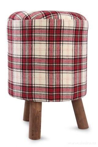 DA9054-Taburet trojnožka s vyšším sedákom červeno-biele kocky