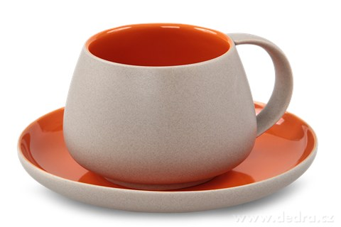 DA81011-BALI CERAMICS šálka s tanierikom prírodná / oranžový