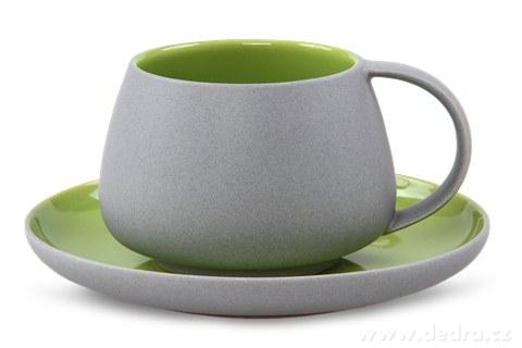 DA81012-BALI CERAMICS šálka s tanierikom sivý / zelený