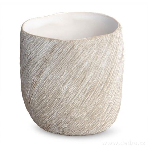 DA90702-Keramický svietnik prírodné na čajovú sviečku STONE