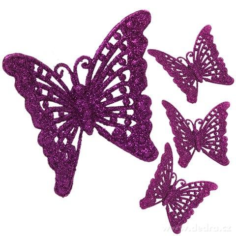 DA91061-4 ks čipkovaných motýlikov tmavo fialový