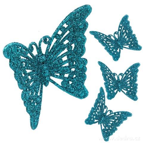 DA91063-4 ks čipkovaných motýlikov tyrkysový