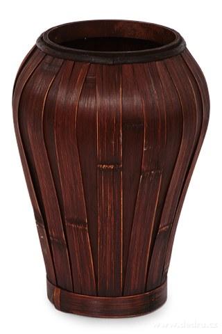 DA91662-Váza z bambusové dyhy mahagónová