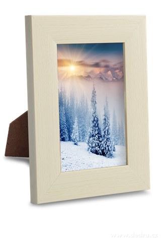 DA91921-Drevený fotorámček krémový na foto 9 x 13 cm