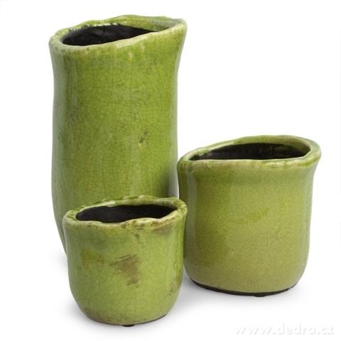 DA9278-Keramický obal na kvetináč alebo váza väčší, zelený
