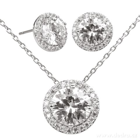 FC9213-Set náhrdelník a náušnice so zirkónmi rhodiováno
