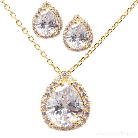 FC9214-Set náhrdelník a náušnice so zirkónmi pozlátené