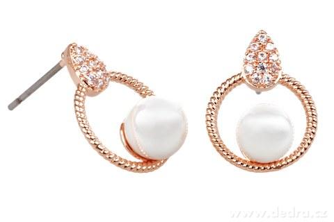 FC9241-Set náhrdelník a náušnice so zirkónmi a perlami rhodiováno rosé