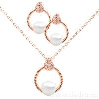 41c507f6d Set náhrdelník a náušnice se zirkony a perlami rhodiováno rosé - Vaše DEDRA  - oficiálne stránky