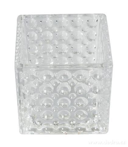 DA93322-Sklenený svietnik s reliéfnym povrchom š 10,5 x h 10,5 x v 10 cm